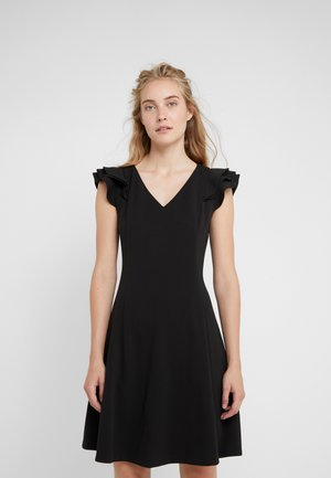 NECK FIT FLARE WITH RUFFLE SLEEVES - Jersey dress - black