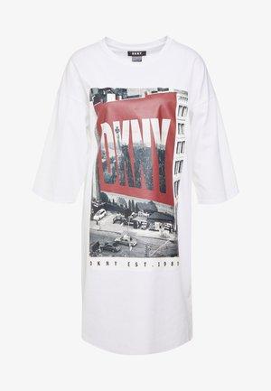 ELBOW CREW NECK DRESS - Jerseykleid - white