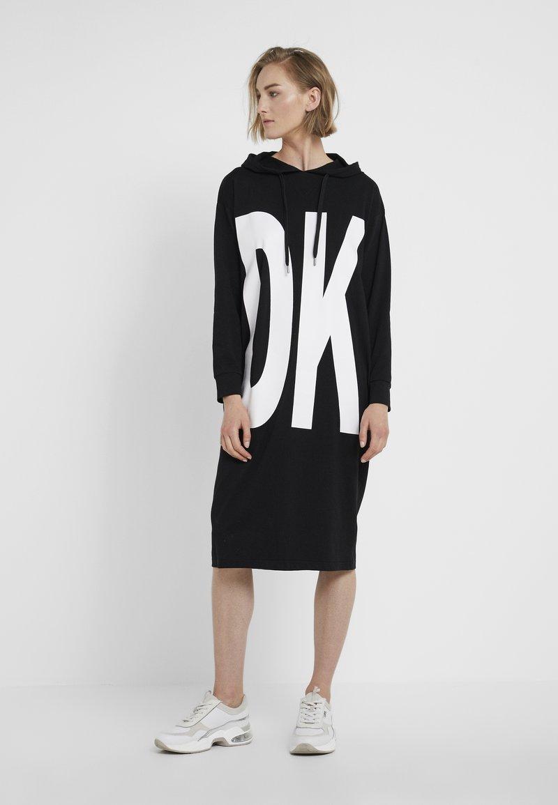 DKNY - HOODIE DRESS - Jersey dress - black