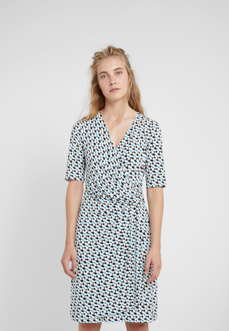 DKNY - FAUX WRAP DRESS - Jersey dress - cerulean combo
