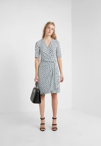 DKNY - FAUX WRAP DRESS - Jersey dress - cerulean combo - 1