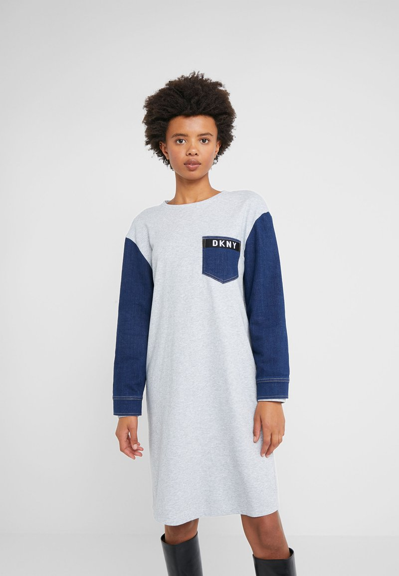 DKNY - CREW NECK DRESS - Vestito estivo - indigo