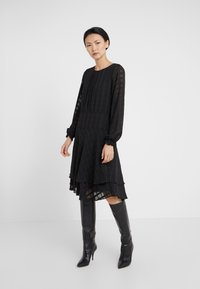 DKNY - FIT FLARE WITH DOUBLE LAYER SKIRT - Day dress - black - 0