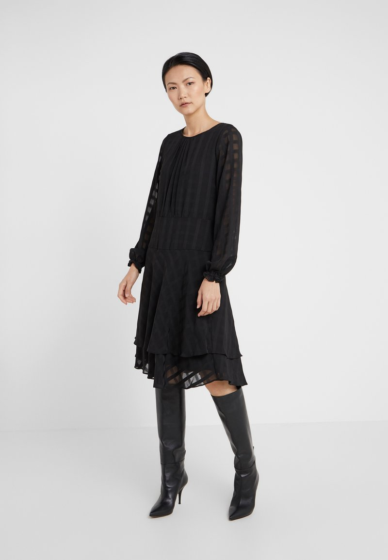 DKNY - FIT FLARE WITH DOUBLE LAYER SKIRT - Day dress - black