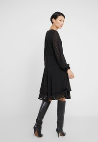 DKNY - FIT FLARE WITH DOUBLE LAYER SKIRT - Day dress - black - 2