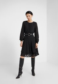 DKNY - FIT FLARE WITH DOUBLE LAYER SKIRT - Day dress - black - 1