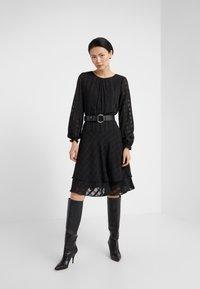 DKNY - FIT FLARE WITH DOUBLE LAYER SKIRT - Denní šaty - black - 1