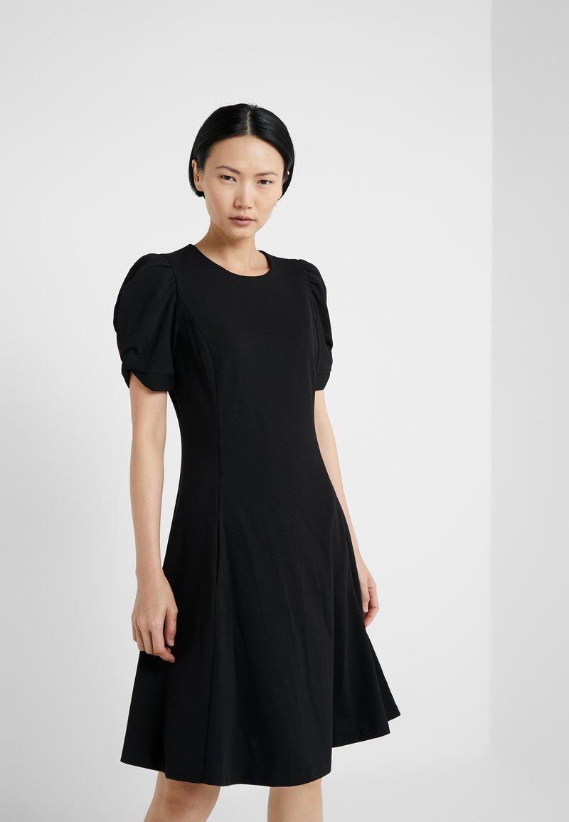 DKNY - KNOT SLEEVE FIT FLARE - Day dress - black