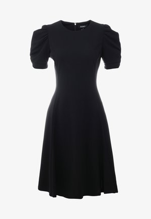 KNOT SLEEVE FIT FLARE - Korte jurk - black