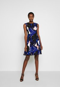 DKNY - CAP SLEEVE PLEAT NECK FIT FLARE - Shift dress - sapphire multi - 1