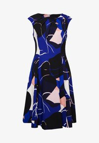 DKNY - CAP SLEEVE PLEAT NECK FIT FLARE - Shift dress - sapphire multi - 4