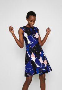 DKNY - CAP SLEEVE PLEAT NECK FIT FLARE - Shift dress - sapphire multi - 3