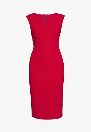 CAP SLEEVE CUTOUT NECK SEAMED SHEATH - Pouzdrové šaty - scarlet
