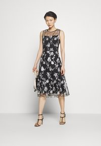 DKNY - MIDI BANDED FIT FLARE - Cocktail dress / Party dress - black/ivory - 1