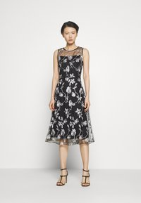 DKNY - MIDI BANDED FIT FLARE - Cocktail dress / Party dress - black/ivory - 0