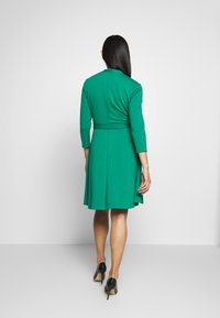 DKNY - 3/4 SLEEVE FAUX WRAP BODICE FIT FLARE - Day dress - emerald - 2