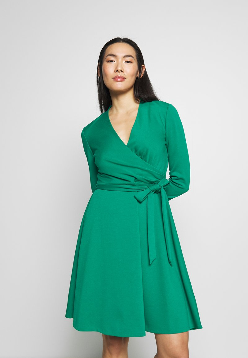 DKNY - 3/4 SLEEVE FAUX WRAP BODICE FIT FLARE - Day dress - emerald