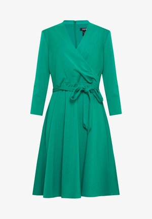 3/4 SLEEVE FAUX WRAP BODICE FIT FLARE - Kjole - emerald