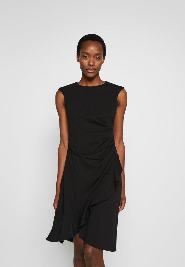 SIDE RUCHE WITH RUFFLE DRAPE SKIRT - Jersey dress - black