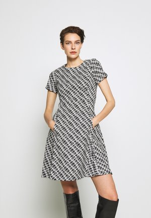 FIT AND FLARE - Jersey dress - black/ivory