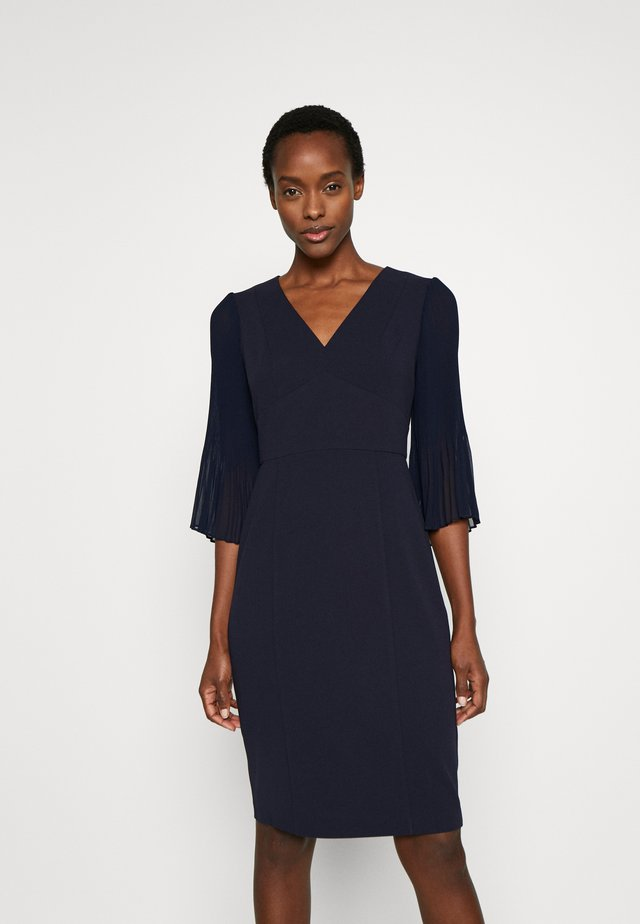 PLEATED SLEEVE V-NECK SHEATH - Shift dress - midnight