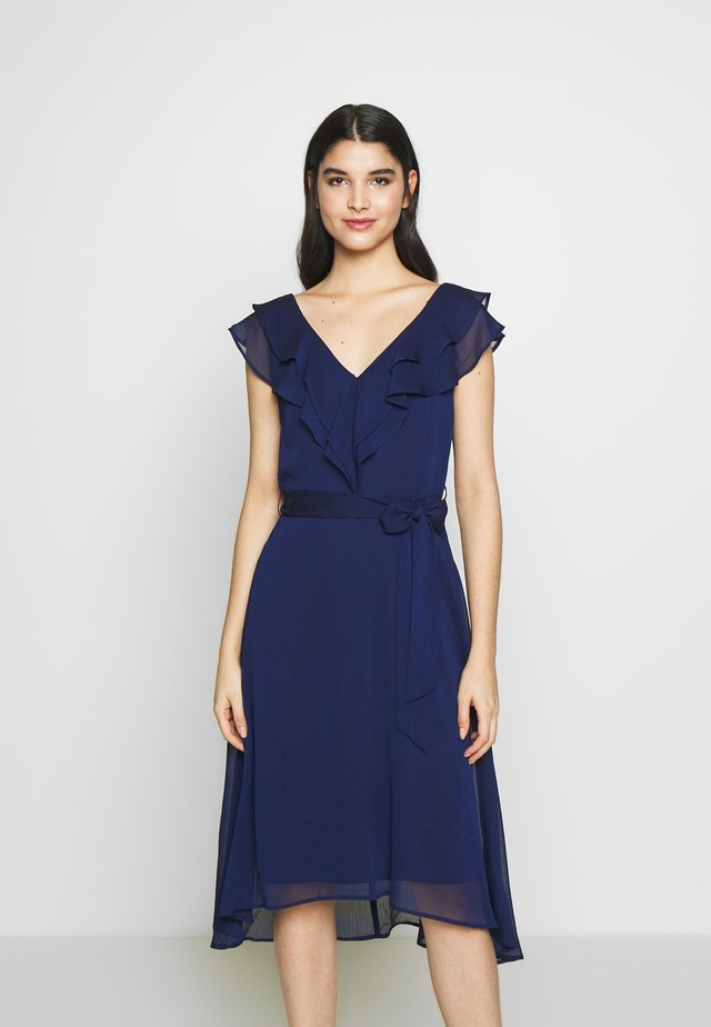 MIDI WITH DOUBLE RUFFLE V-NECK - Day dress - midnight