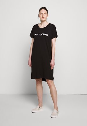 LOGO DRESS - Žerzejové šaty - black/white