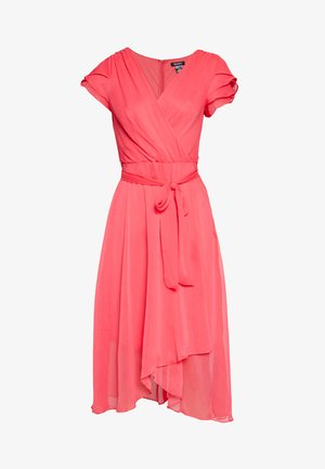 TRIPLE LAYER SLEEVE V-NECK WRAP MIDI - Day dress - melon