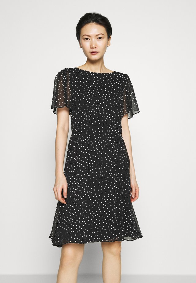 BOAT NECK FLARE SLEEVE FIT AND FLARE - Day dress - black/cream