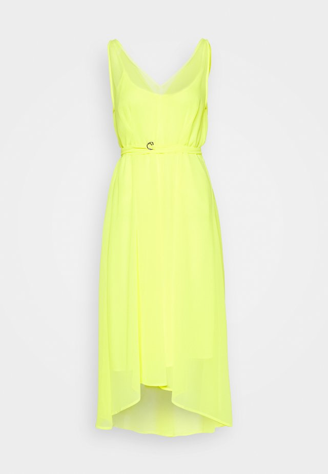 VNECK HI LOW DRESS WAIST SELF BELT - Day dress - neon yellow