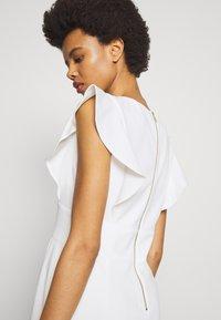 DKNY - V-NECK RUFFLE CAP SLEEVE SHEATH - Shift dress - cream - 5