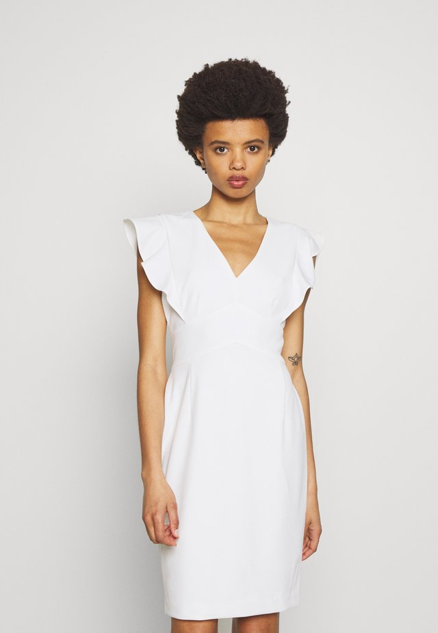 V-NECK RUFFLE CAP SLEEVE SHEATH - Shift dress - cream