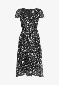 DKNY - FLUTTER SLEEVE V-NECK WRAP MIDI - Day dress - black/multi - 6