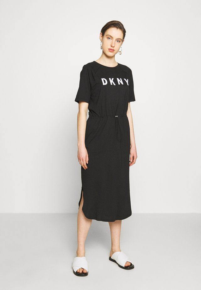 LOGO T-SHIRT MAXI DRESS  - Jersey dress - black/ivory