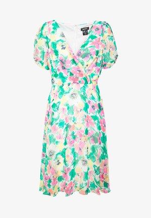 KNOT PUFF SLEEVE FIT FLARE - Denní šaty - cream/multicolor