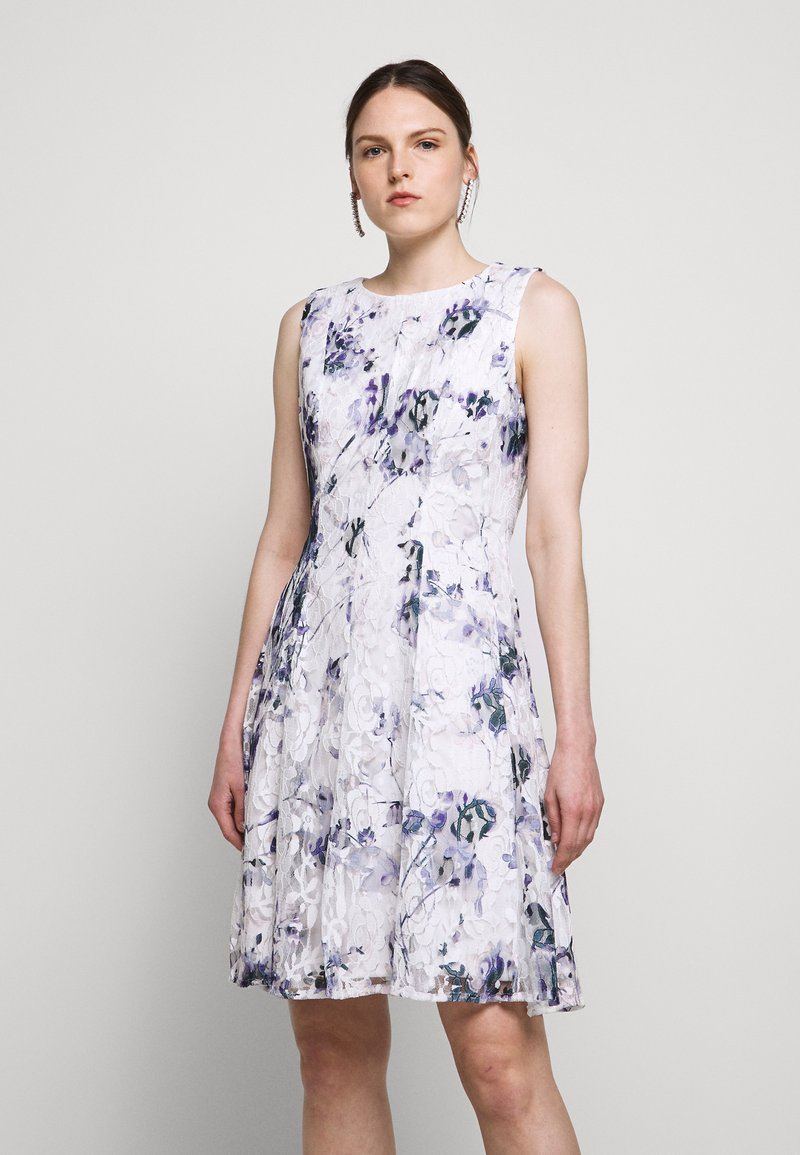 DKNY - RUFFLE EDGE FIT AND FLARE - Cocktailklänning - petunia white/lilac