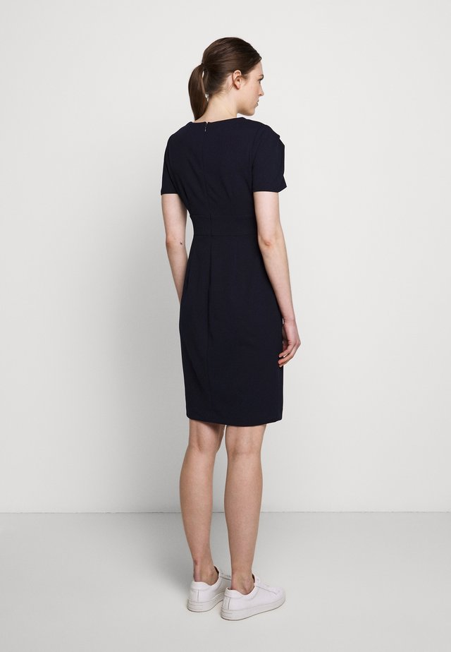 PUFF PLEAT SLEEVE V-NECK SHEATH - Etuikjole - spring navy
