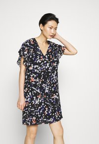DKNY - VNECK DRESS RUFFLE - Day dress - black/multi - 0
