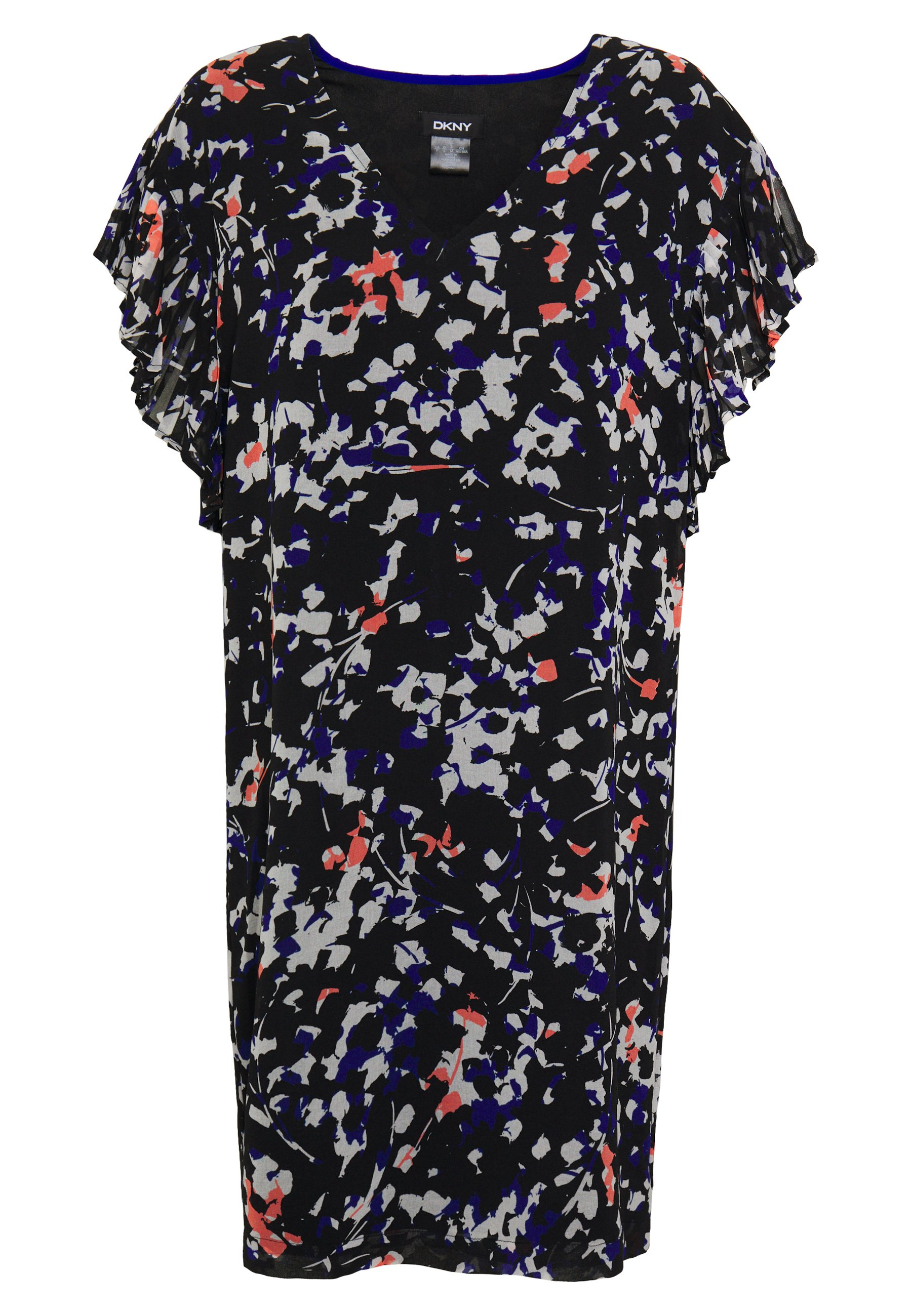 DKNY VNECK DRESS RUFFLE - Sukienka letnia - black/multi