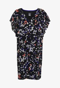 DKNY - VNECK DRESS RUFFLE - Day dress - black/multi - 3