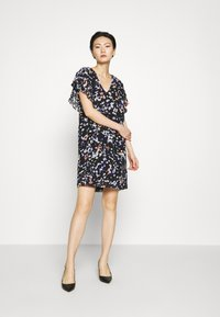 DKNY - VNECK DRESS RUFFLE - Day dress - black/multi - 1