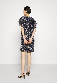 DKNY - VNECK DRESS RUFFLE - Day dress - black/multi - 2