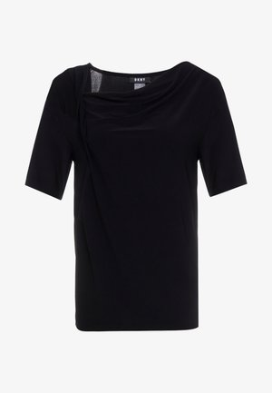 ELBOW DRAPED NECK TOP - Print T-shirt - black