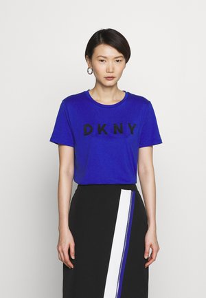 EMBROIDERED LOGO - Print T-shirt - electric blue/black