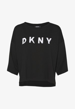 CROPPED OVERSIZED LOGO - T-shirt print - black/ivory