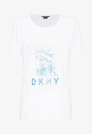 LADY LIBERTY SEQUIN LOGO  - T-shirts print - white/electric blue