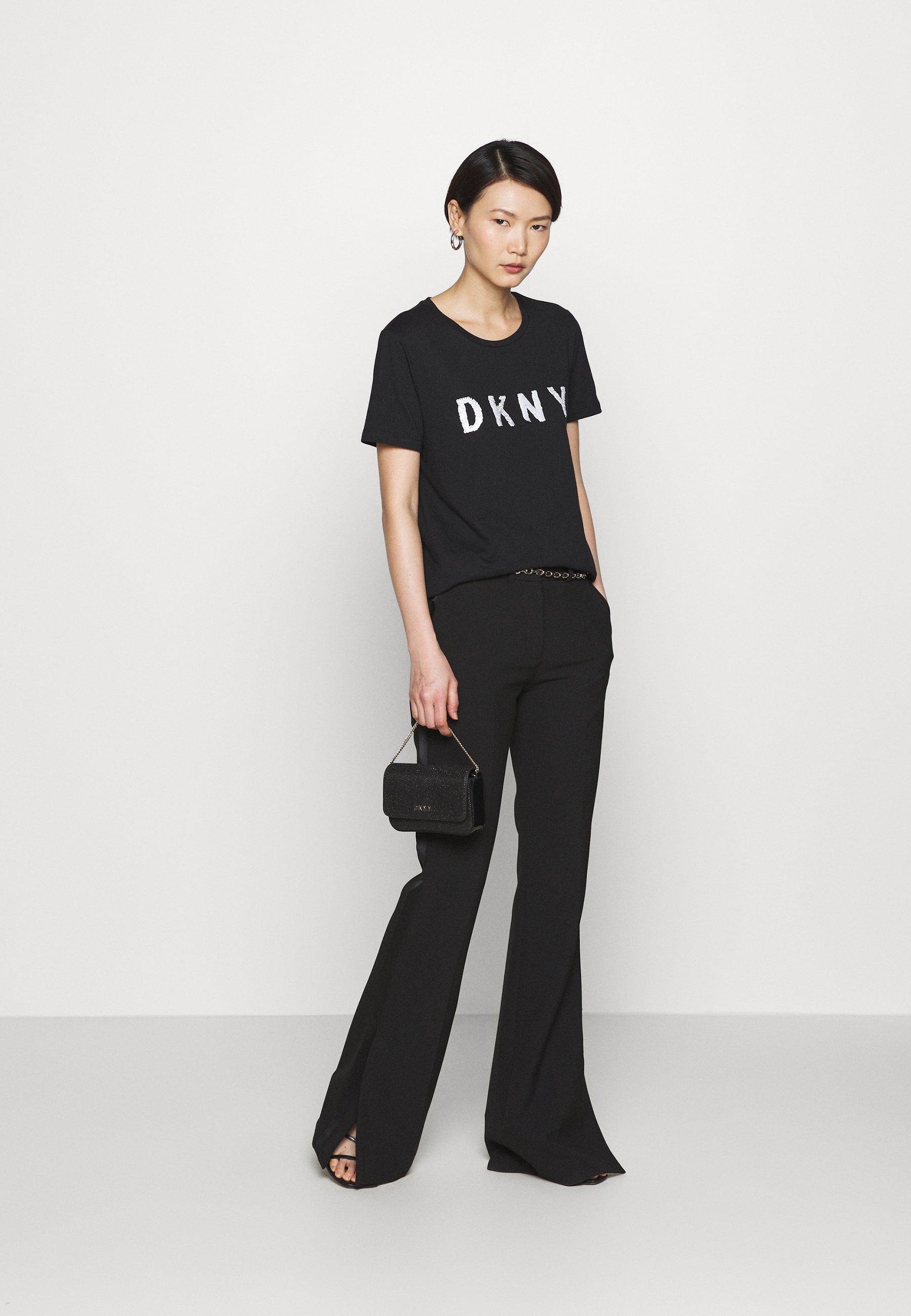 DKNY SEQUIN LOGO - T-shirt z nadrukiem - black/white