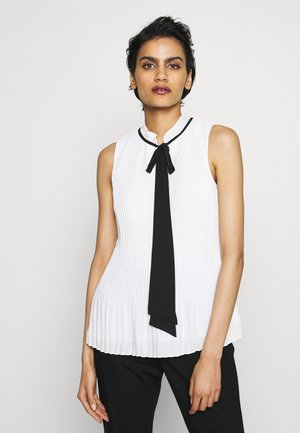 PLEATED TOP WITH TIE NECK - Blouse - white/black