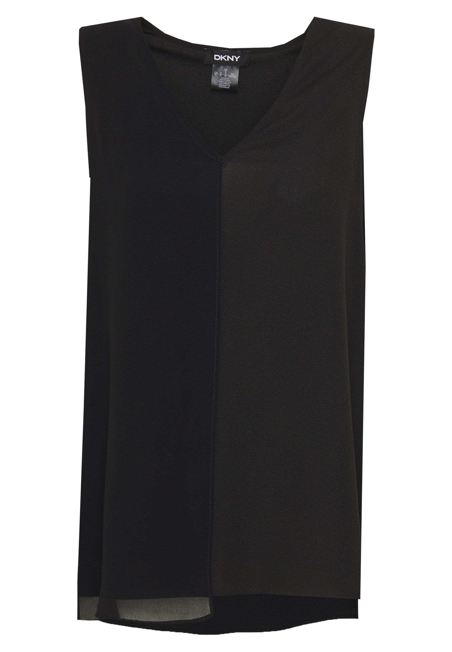 DKNY VNECK MIXED MEDIA TOP - Bluzka - black