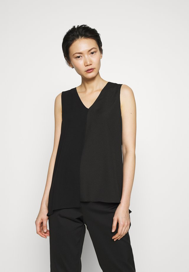 VNECK MIXED MEDIA TOP - Bluzka - black